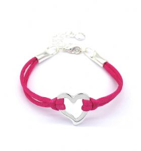 Open Heart Pink Cord Friendship Bracelet